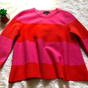 Ann Taylor Color Block Hot Pink Thick Crewneck